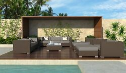 Outdoor Sectional Sofa Furniture Rattan Wicker 11PC Victor All Weather Patio