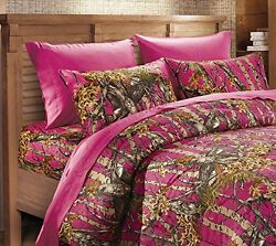 22 PC QUEEN HOT PINK CAMO SET! CURTAINS COMFORTER SHEET CAMOUFLAGE WESTERN WOODS