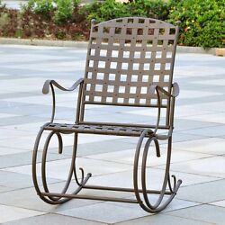 Rocking Chair Outdoor Patio Wrought Iron Rocker Garden Metal Balcony Deck Pool
