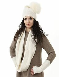 Pure Mongolian Cashmere Hat Glove Infinity Scarf Set