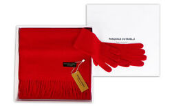 Classic Red Plain Scarf & Gloves - Womens 100% Cashmere Gift Box Set (PLA-C)