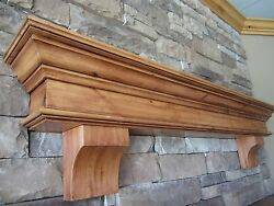 Fireplace Mantel Shelf Shelving Knott Alder With Supports Custom Sized No Charge