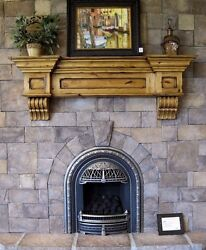 Vintage Rustic Fireplace Mantel Shelf & Corbels Hearth Country Large Crown Mold