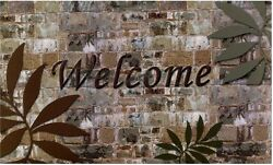 Entrance Doormats Welcome Palms Polyester Anti skid Rubber Back Patio Outdoor