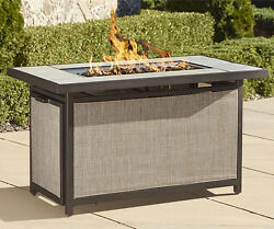 Fire Pit Table Metal Propane Gas Fireplace Outdoor Patio Backyard Deck Firepit