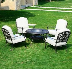 Fire Pit Patio Set 4 Chairs Backyard Fireplace Heater Lounge Outdoor Furniture