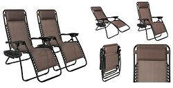Outdoor Patio Chairs Set Of 2 Brown Folding Yard Beach Garden Poolside Camping