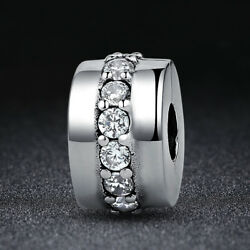 Valentine's day 925 Sterling Silver Shining Path Clear CZ European Charm Bead
