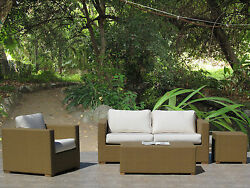 Peyton Outdoor Furniture Resin Wicker Sofa 4-PC Set Choice of Sunbrella Fabrics