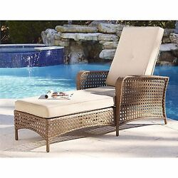 Modern Outdoor Furniture Chaise Lounge Chair All Weather Wicker Lazy Lounger New