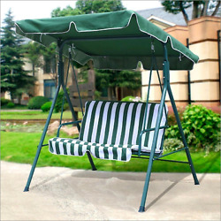 Outdoor Porch Patio Loveseat Canopy Swing in Green and White Garden Furniture