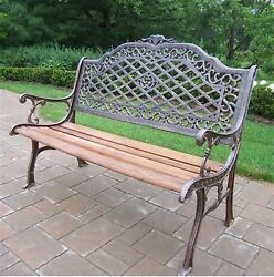 Oakland Living Mississippi 27-in W x 52-in L Antique Bronze Patio Bench Outdoor