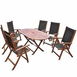 Patio Dining Set Table Chairs 7 Piece Folding Outdoor Deck Acacia Wood Furniture