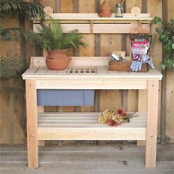 Outdoor Wooden Potting Bench Planting Table Garden Tools Workstation Storage