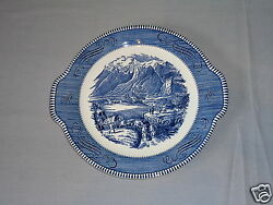VINTAGE CURRIER & IVES BLUE BY ROYAL ROCKY MOUNTAINS ROUND HANDLED CAKE PLATE