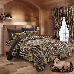 22 PC BLACK CAMO QUEEN SIZE SET!! COMFORTER SHEET CURTAIN CAMOUFLAGE BEDDING NEW
