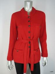 CHANEL 44 14 L Red Cashmere Sweater Jacket Cardigan Blazer CC Logo Buttons EUC