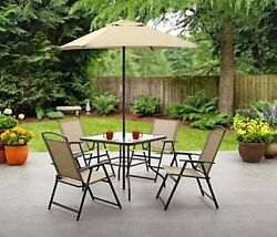 Patio Dining Set & Umbrella - 6 Pc Folding Table & Chairs Outdoor Deck Furniture