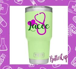Nurse Stethoscope Vinyl Decal for your Tumbler Cup Personalized Name Monogram
