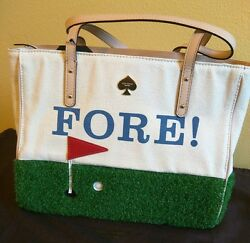 KATE SPADE QUINN ON PAR FORE GOLF GRASS ASTRO TURF TERRY SATCHEL TOTE BAG RARE