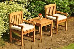 DSDV 3pc Dining Set: Grade-A Teak Noida Sqre Side Table Arm Chairs Outdoor Patio