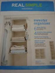 NWT Real Simple Sweater Organizer 6 Deep Shelves 4 Stretchy Side Pockets Ivory