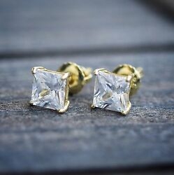 Mens Women#x27;s Small Gold Princess Cut Solitaire Lab Diamond Stud Screw Earrings $15.99