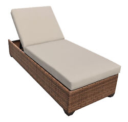Outdoor Patio Wicker Chaise Lounge Chair Furniture Beige