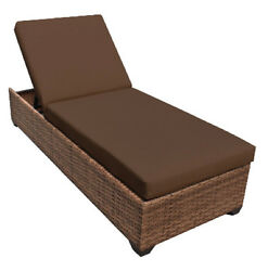 Outdoor Patio Wicker Chaise Lounge Chair Furniture Cocoa