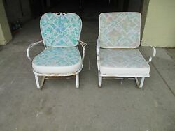 Pair Vintage Wrought Iron Patio Outdoor Bouncer Spring Lounge Chairs Woodard