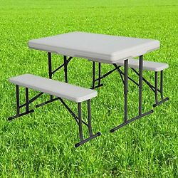 Folding Table and Benches Set Chair Seat Patio Garden Picnic Outdoor Furniture