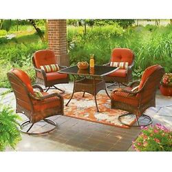 Patio Dining Set Outdoor Furniture Cushion Wicker Swivel Chairs Table Porch Deck