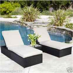 Pool Chaise Lounge Chairs  with Wicker Rattan Patio Furniture  3-Set Table Black