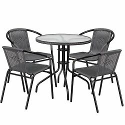 5 Piece Outdoor Bistro Set Bar Garden Furnuture CoffeTable And 4 Side Chairs New