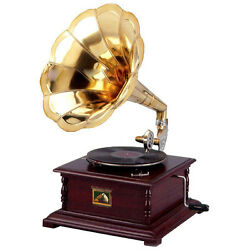 Replica Gramophone Player 78 rpm phonograph Brass Horn HMV Vintage  Free PP