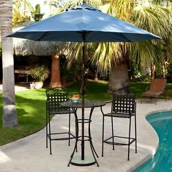 Wrought Iron Bistro Set Patio Dining Table Chairs Outdoor Bar Height Deck Pool