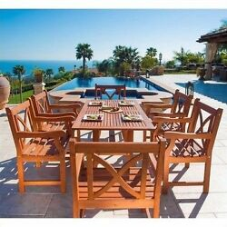 Outdoor Dining Table And Chairs Patio Set 7 Piece Wood Furniture Deck Family New