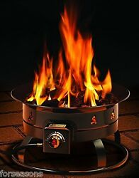 Portable Fire Pit Firebowl Outdoor Propane Outdoor Gas Camping Decorative Rock