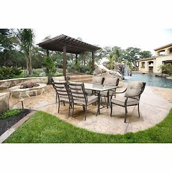 Outdoor Patio Furniture Dining Set Metal 7-Pieces 6 Chairs with Cushions 1 Table