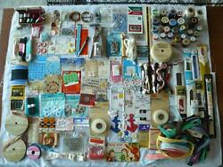 Huge Lot Vtg Sewing Craft Supplies Thread Needles Zippers Buttons Lace Appliques
