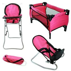 Doll Play Set Accessory Pretend Playset Toy Pack N Play Bouncer High Chair Pink