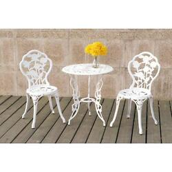 Metal Patio Set Furniture 3 pc Outdoor Bistro Table Chairs Garden Yard Dining