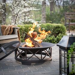 Fire Sense 30 in. Portsmouth Weathered Bronze Fire Pit with FREE Cover