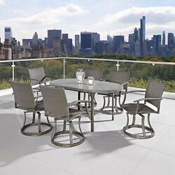 Home Styles Urban Outdoor 7 Piece Swivel Chair Dining Set Aged Metal Finish 1