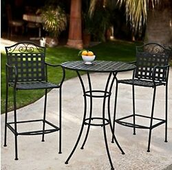 3 Piece Outdoor Bistro Set Bar Height -Black. This Traditional Patio Furnitur...