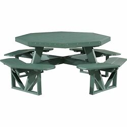 Octagon Picnic Table Green Outdoor Sturdy Curved Bench Umbrella Hole Family Food
