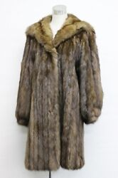 RUSSIAN SABLE FUR Hooded Long Coat with refurbished Hermes Scarf Lining