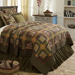 TEA CABIN (QUEEN) PRIMITIVE COUNTRY FARMHOUSE QUILT SET BY VHC BRANDS
