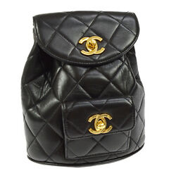 Auth CHANEL Quilted CC Chain Drawstring Backpack Bag Black Leather VTG G02889