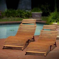Lisbon Outdoor Folding Chaise Lounge Chair Set of 2 Poolside Beach Back Yard